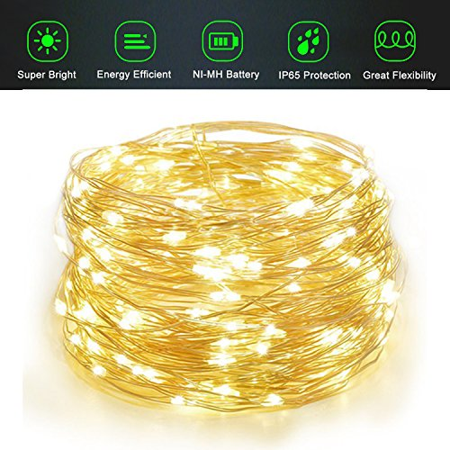 Adecorty Solar String Lights, Outdoor Solar Fairy String Lights with 100 LEDs 33ft Silver Copper Wire 8 Modes Waterproof for Outdoor Home Party Wedding Patio Landscape Trees Decor (Warm White)