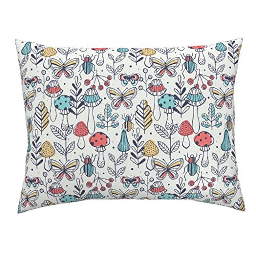 mod Mushrooms Euro Knife Edge Pillow Sham Illustrated Bugs Entomology Autumn Butterfly Kid Toddler Room by Adehoidar 100% Cotton Sateen