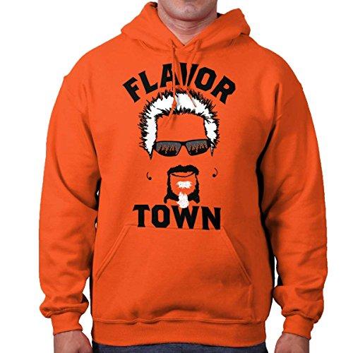 Brisco Brands Food TV Flavor Town Funny Meme Foodie Hoodie Orange (Flavor Town)