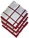 """Set of 6, 100 Ring spun Ribbed Terry Cotton Mix & Match Dishcloths Size: 12"""" x 12"""" Ultra Absorbent & Durable for wiping Down Countertops, Dusting or Drying Dishes. (White/Red Stripes)"""