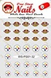 steelers Pittsburgh Steelers Vinyl Peel and Stick nail decals Set of 32 Stickers with White Backgroung V1