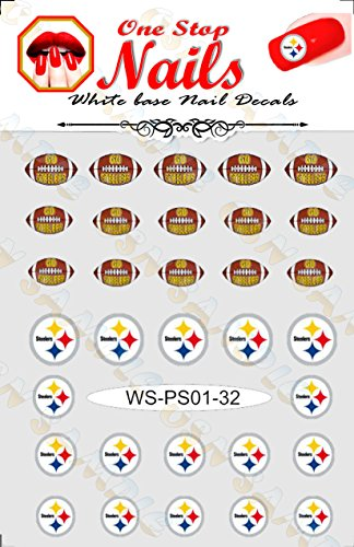 Steelers vinyl Peel and Stick nail decals. Set of 32 stickers with white background V1. (A21). -