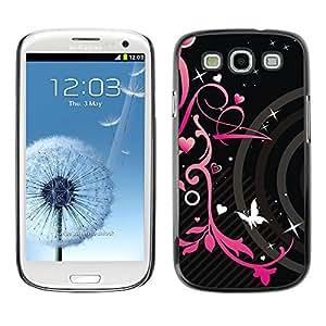 For SAMSUNG Galaxy S3 III / i9300 / i747 Case , Hearts Butterfly Spring Abstract - Diseño Patrón Teléfono Caso Cubierta Case Bumper Duro Protección Case Cover Funda