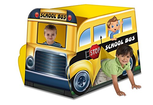 Playhut School Bus EZ Vehicle Pop-Up Play Tent – Easy Pop-Up and Fold Down with Multiple Doors and Windows, Durable Materials