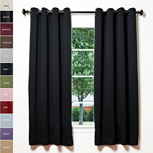 Colonial Eyelet (ChadMade Solid Thermal Insulated Blackout Curtains Drapes Antique Bronze Grommet/Eyelet Black 52W x 72L Inch (Set of 2 Panels))