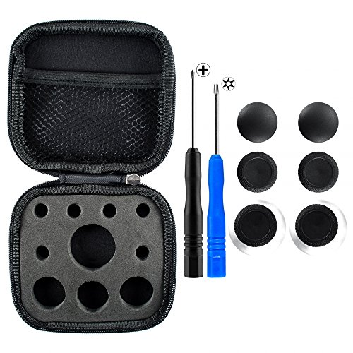 eXtremeRate 4 in 1 Metal Magnetic Thumbsticks Analogue Joysticks T8H Cross Screwdrivers with Storage Case for Xbox One S Elite PS4 Slim Pro Controller Black
