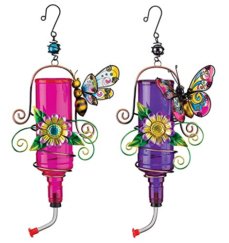 Regal Metal Hummingbird Feeders With Bright Floral Accents