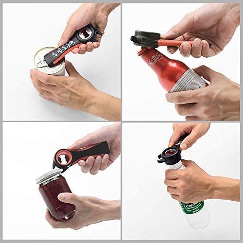 Jar Opener for Weak Hands Jar Opener Tool-6 in 1 Multi Openers 5-in-1 Bottle Opener,Twist Off Lid Kitchen Tool Suitable Jar Opener Wrench for Seniors Arthritis Women Chilren Elderly to Open