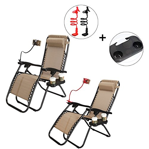 CATWALK 2 Pack Zero Gravity Chairs with Cup Holder&Phone Holder,Case of 2 Folding New Lounge Patio Outdoor Beach Chairs. (Khaki) For Sale
