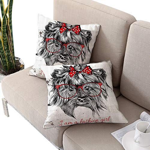 (Josepsh Animal Square Double-Sided Printing Pillowcase,I am a Fashion Girl Quote Sketch Cute Hipster Dog with Sunglasses and Red Bow Red Black White Cushion Cases Pillowcases for Sofa Bedroom Car)