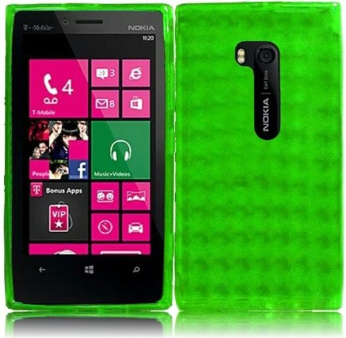LF Green TPU Agryle Soft Case Proctor Cover, Lf Stylus Pen and Screen Wiper Bundle Accessory for T-Mobil Nokia Lumia 810