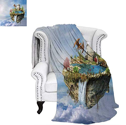 Tower Island Light - Lightweight Blanket Island with Dragon Castle Tower Waterfall and Flipped Mountain in Space Image Digital Printing Blanket 80