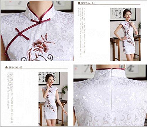 VENIMASEE Damen Chinesisch Kleid Kurz Qipao Rot Stickerei Cheongsam S-2XL  Pejvi0Fh ... fe7764ebe2