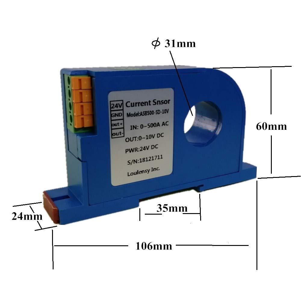 Loulensy AC Current Sensor Transducer Transformer Transmitter 0-1000A AC Output 0-5V DC