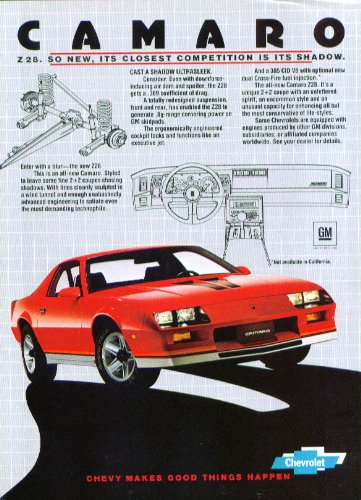 Competition Shadow (Z28 closest competition its shadow Camaro ad 1982 Z/28)