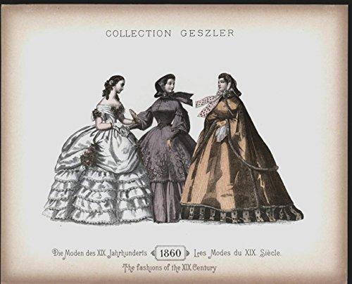 Seductive Fan Shawl Gowns c.1898 antique lithograph hand color fashion ()