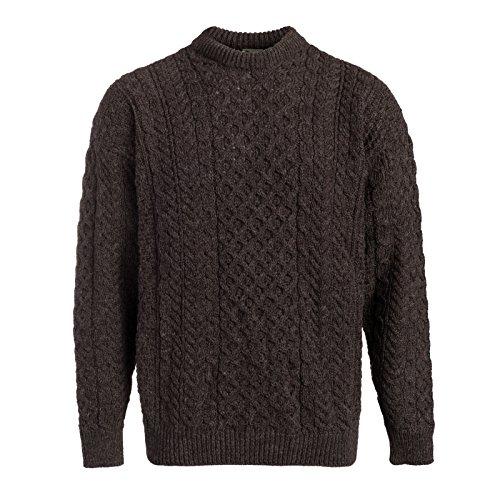 Boyne Valley Knitwear Mens Fisherman Aran Sweater (Brown, XXXLarge)