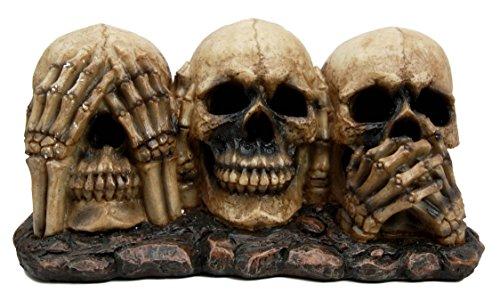 Gothic Funny See Hear Speak No Evil Skulls Skeleton Figurine Halloween Decor