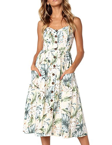 BABAKUD Women's Dresses Summer Light Yellow Floral Spaghetti Strap Button Down Midi Dress with Pocket, Size L Button Cami