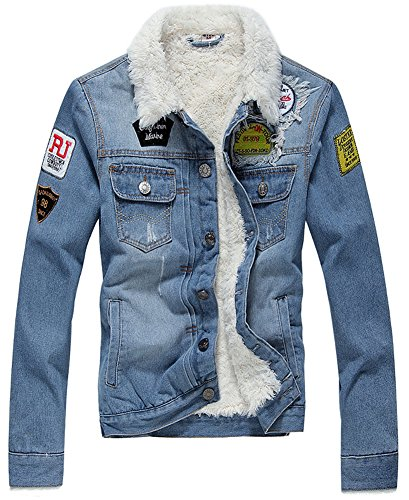 LifeHe Winter Fleece Lined Fur Collar Men Denim Jacket with Patches (S, Light Blue)