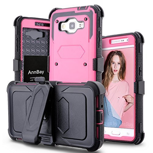 Galaxy Grand Prime (G530) Case,AnnBay for G530 G530H High Impact Hybrid Case Dual Layer Armor Heavy Duty Cover Case Hard PC TPU Case (Clip+Hot Pink) by AnnBay (Image #1)