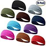 DASUTA Set of 10 Women's Yoga Sport Athletic Workout Headband For Running Sports Travel Fitness Elastic Wicking Non Slip Lightweight Multi Style Bandana Headbands Headscarf fits all Men & Women