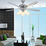 Luxurefan Large Wind Power Contemporary Metal Ceiling Fan Lamp for Modern Living Room Restaurant with 5 Premium Stainless Steel Blade and 6 Elegant Lampshade Remote Control of Sand Nickel 56Inch