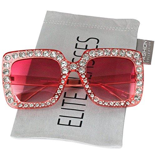 Elite Oversized Square Frame Crystal Bling Rhinestone Brand Designer Sunglasses For Women 2018 (Pink Bling Rhinestone)