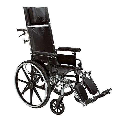 - Drive Medical Viper Plus GT Full Reclining Wheelchair, Detachable Full Arms, 16