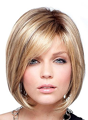 100 % Real Human Short Bob Costume Wigs with Bangs for Wh...