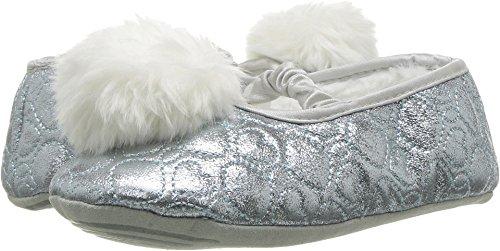 Stride Rite Girls' Ballet Slipper, Penelope Pom-Turquoise/Silver, 7-8 Toddler (Slipper Silver)