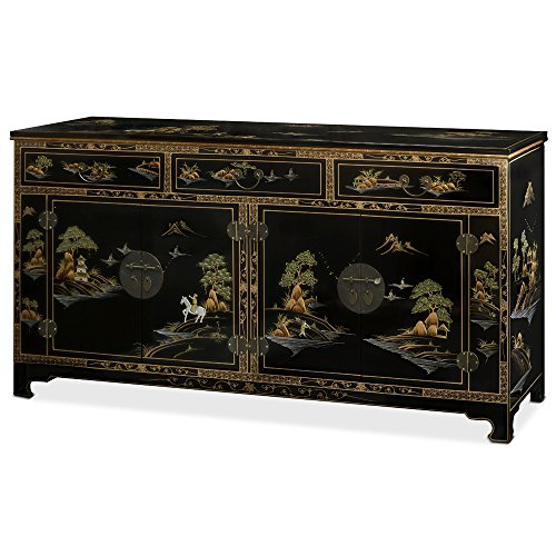 China Furniture Online Chinoiserie Sideboard, Hand Painted Chinese Landscape Cabinet in Black Lacquer Finish - Dining Room Painted Cabinet