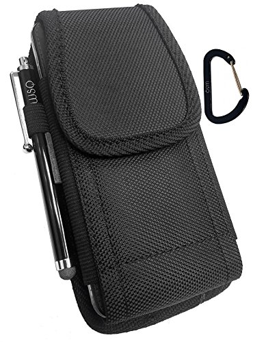 WSQ Rugged Pouch Holster Nylon Canvas Case with Belt Loop + Metal Clip + Hook+Stylus Pen For Iphone SE 5S 5C 5 (perfect fit with lifeproof & waterproof case on ()