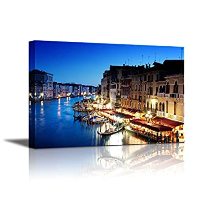 Canvas Wall Art - Grand Canal in Venice, Italy at Sunset | Modern Home Art Canvas Prints Giclee Printing Wrapped & Ready to Hang - 16