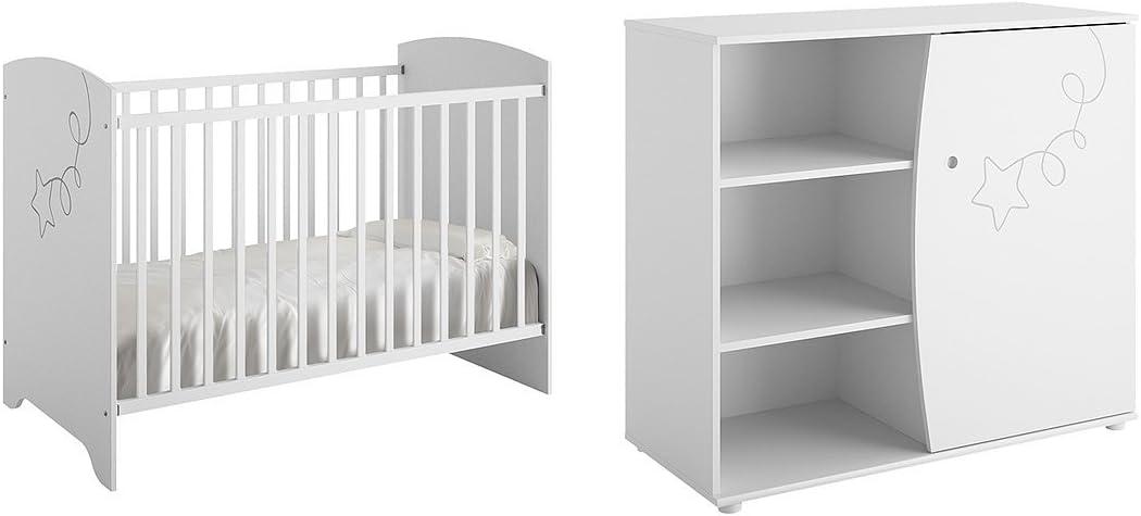 Cuna 60 x 120 y cómoda cambiador Galipette Adèle – blanco: Amazon.es: Bebé