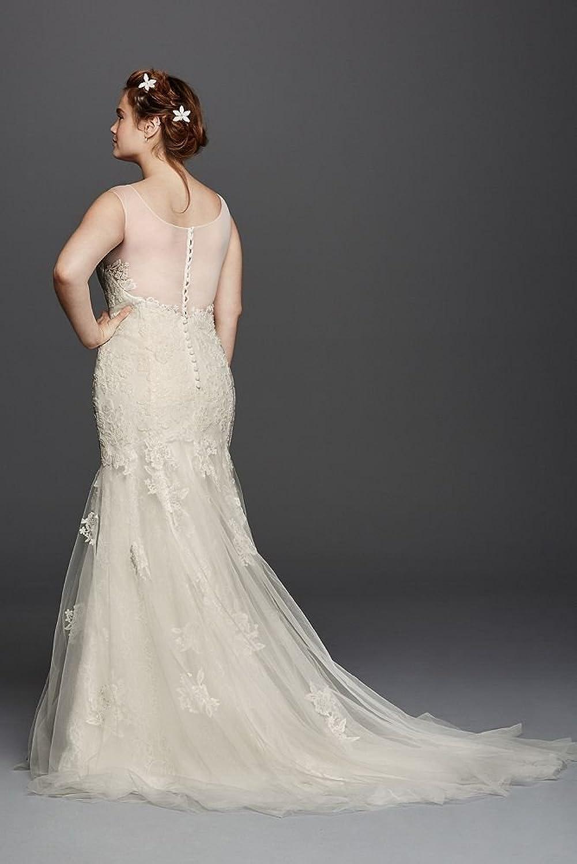 David\'s Bridal Plus Size Melissa Sweet Illusion Tank Wedding Dress ...