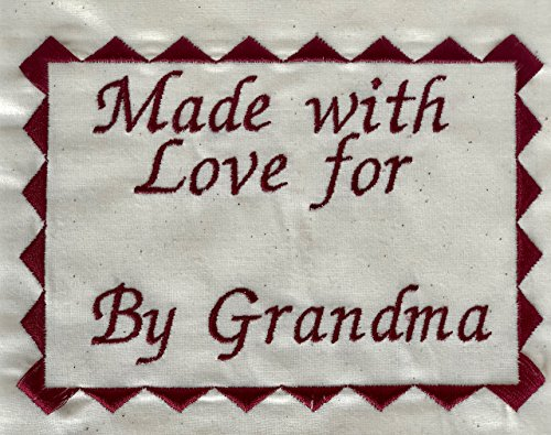 """Embroidered Quilt Blocks, Personalized Sewing Labels for Handmade Items, One 4x5.5"""" Label, USA Made"""