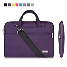 """Qishare 13 13.3"""" Purple Tablet / Laptop / Chromebook / Macbook/ Ultrabook Multi-functional Business Briefcase Sleeve Pouch /Messenger Case Tote Bag Cover with Handle and Carrying Strap for Acer / Asus / Dell / Fujitsu / Lenovo / Hp / Samsung / Sony / Toshiba Computer, Suitable for Students/computer Worker/women/men/ladies/girls/boys/teens Design (Purple, 13.3'')"""