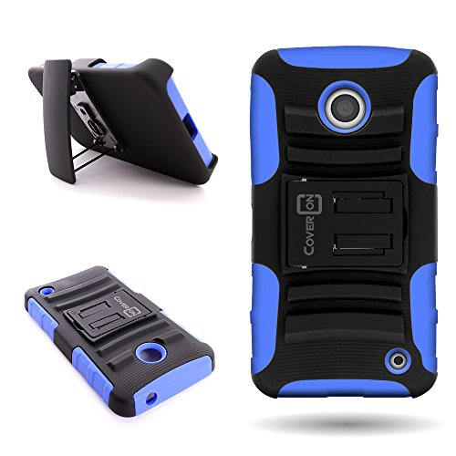 Nokia Lumia 635 Holster Phone Case with Belt Clip (Blue/Black) | CoverON (Explorer) Hybrid Combo Kickstand Series | Protective Dual Layer Impact Armor Cover for Nokia Lumia - Case Shipping Nokia Free 635