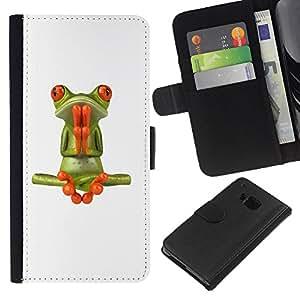 KLONGSHOP // Tirón de la caja Cartera de cuero con ranuras para tarjetas - Rana Oración Meditación Yoga Blanca - HTC One M9 //