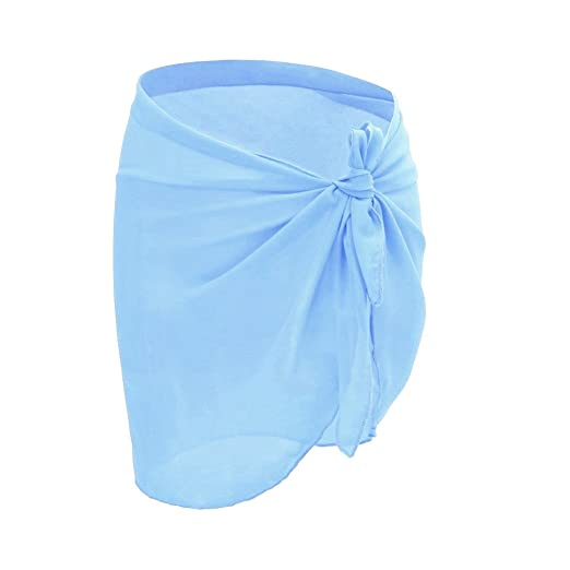 d4440d3e86 LHY Chiffon Cover up Swimwear Beach Short Sarong Wrap Sarong Pareo Canga Swimsuit  Wrap (Blue
