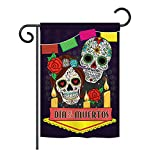 Ornament Collection GS191029-BO Dia de Los Muertos Fall Halloween Impressions Decorative Vertical 13″ x 18.5″ Double Sided Garden Flag Set with Banner Pole Included Printed in USA