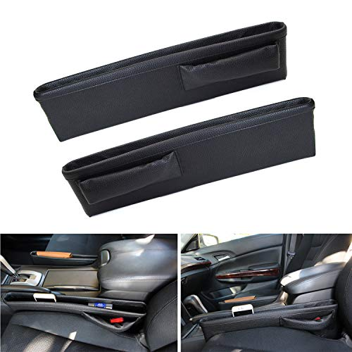 (iJDMTOY (2 Black Leather Extra Long Car Side Pocket Organizers, Seat Catcher Holders for Key, Wallet, Phone, Sunglasses, etc)