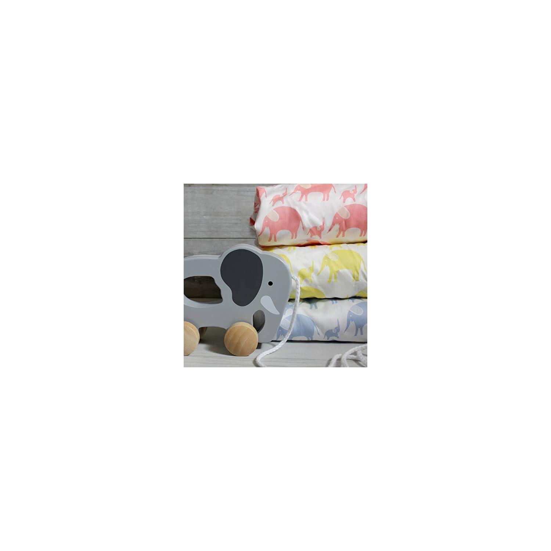 Magnolia Organics Elephant Crib Sheet – Bassinet, Sky