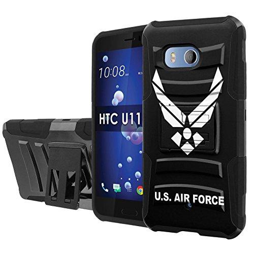 [Nakedshield] Phone Case For HTC U11 [Black/Black] Defender Combat Armor Case [KickStand] [Holster] - [US Airforce] Print Design