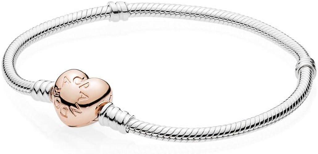 Pandora Bracelet avec fermoir en forme de cœur, 18 cm, rose