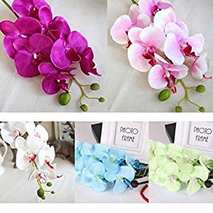 Omkuwl Silk Artificial Phalaenopsis Orchid Flower Stem Bouquet Party Home Garden Decor Length: 78CM 60