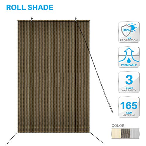 (PATIO Paradise Roll up Shades Roller Shade 4'Wx6'H Outdoor Shade Blind Pull Shade Privacy Screen Porch Deck Balcony Pergola Trellis Carport Brown )
