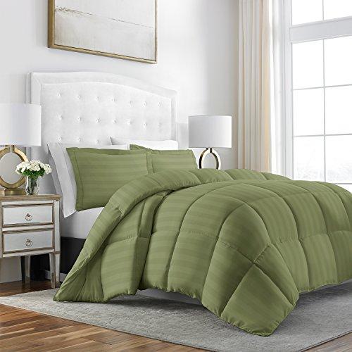 xury Goose Down AlternativeDobby StripedComforter3-PieceSet - Premium Hypoallergenic All Season Duvet Set - King/Cal King - Sage (Green King Comforter Set)