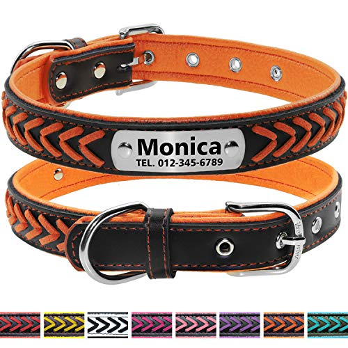 Vcalabashor Custom Leather Collar,Personalized Engraved Dog Collar with Stainless Steel On Collar Nameplate,Orange